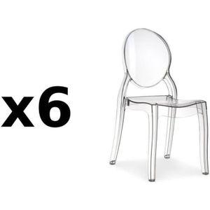 CHAISE Lot de 6 chaise design IMPÉRATRICE en polycarbonat