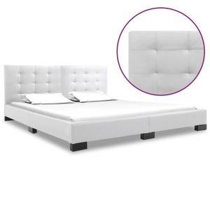 STRUCTURE DE LIT vidaXL Cadre de lit Blanc Similicuir 160x200 cm