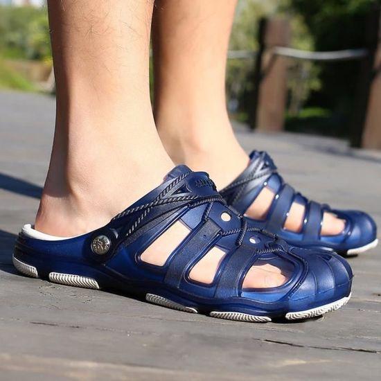 Hommes Plage Sandales Creux Chaussures Casual Pantoufles Respirant Slip-On Flats Chaussures@Bleu Bleu Bleu - Achat / Vente slip-on