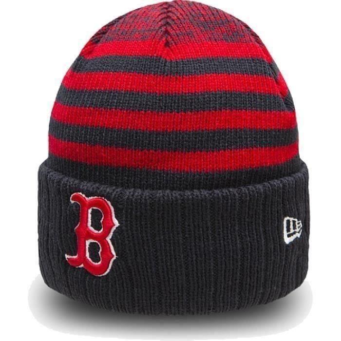 NEW ERA Bonnet de ski adulte - Noir rayé rouge - MLB Seasonal Stripe Crown