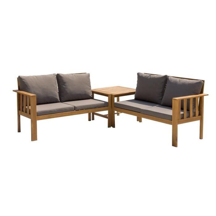 Salon de jardin en bois dacacia 4 personnes kito bois et coussins gris