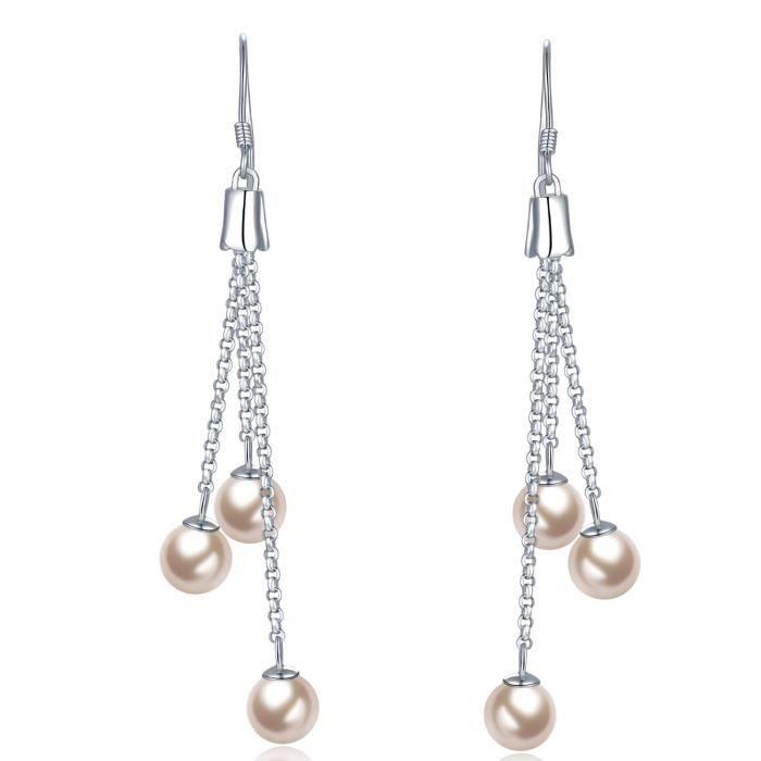 MBLife Argent sterling 925 Triple deau douce Perle de culture Tassel Boucles dOreilles Bijoux Femme