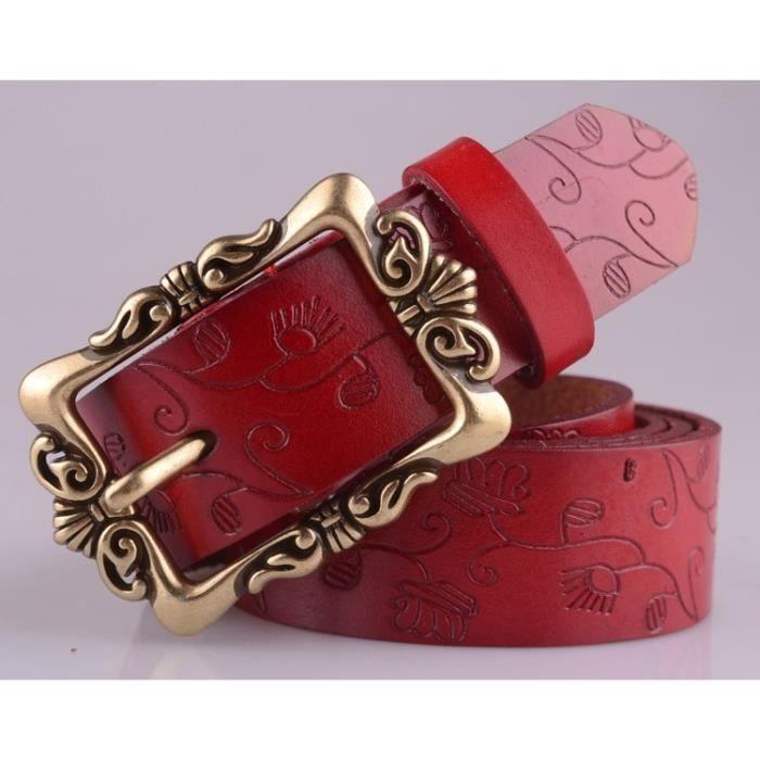 Ceinture femme en cuir rouge Rouge - Achat   Vente ceinture et ... c6891e38733