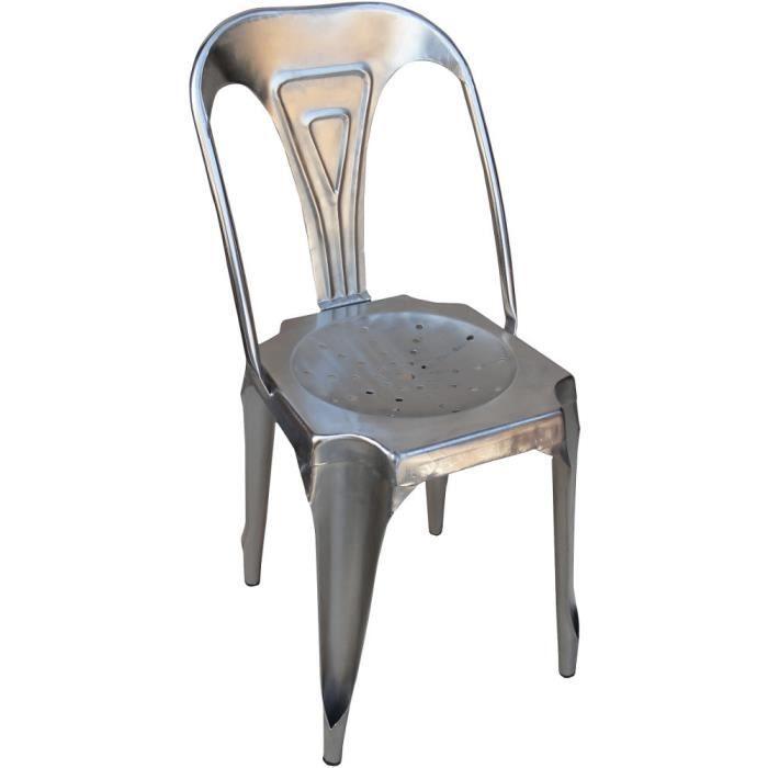 Chaise Vintage En Fer Argent 38x38x83cm