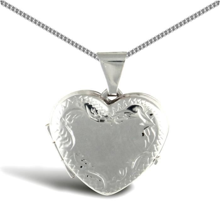 Jewelco London Dames Argent sterling blanc coeur damour medaillon pendentif