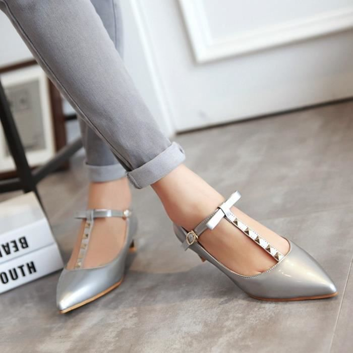 talons hauts-Pure Color Low Heel Thick Band Hee...
