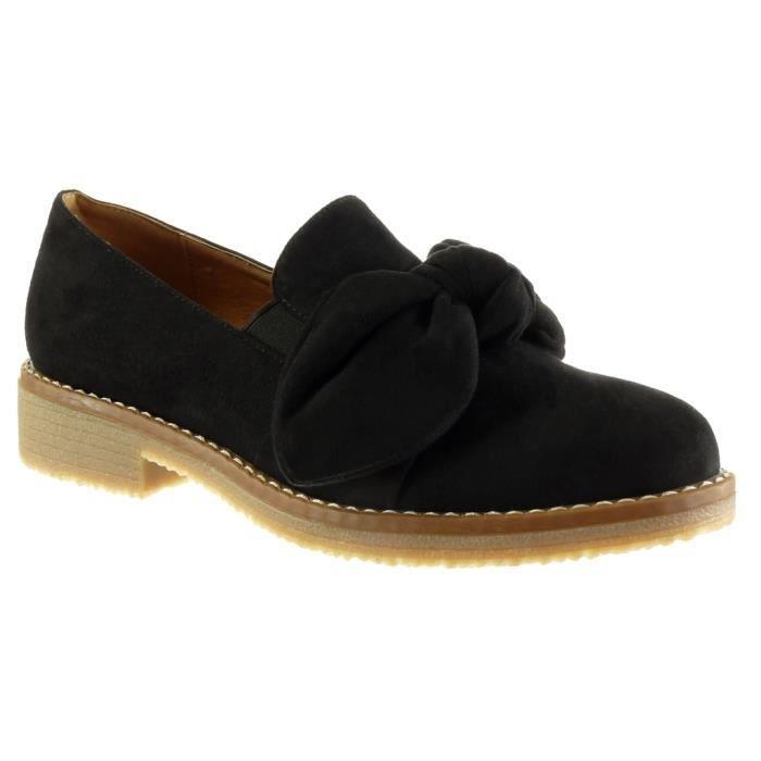 Angkorly - Chaussure Mode Mocassin slip-on femme noeud finition surpiqûres coutures Talon bloc 3 CM - Noir - YS452 T 41 LQrsY