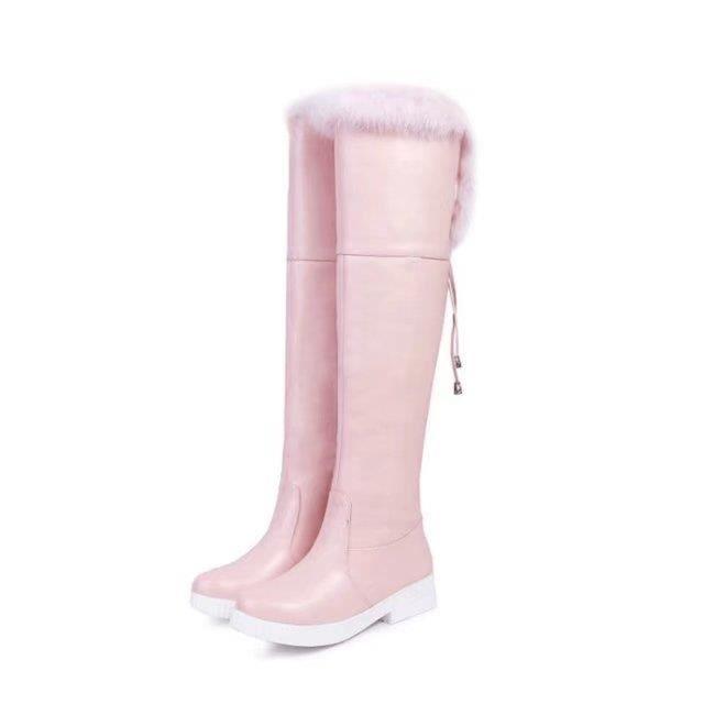 bottes à genou bas talon glisser sur l'automne chaussures hiver femmes chaussures mode chaud femme bottes noir blanc marron