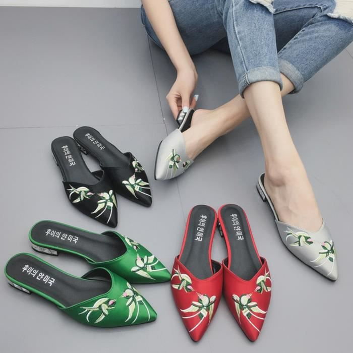 XZ972A6XZ972A6Bird femmes broderie Flats Vintage Chaussons Chaussures à lacets Pointu Toe sur des chaussures