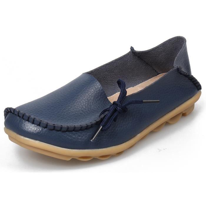 Chaussures de conduite à lacets en cuir de vachette Mocassins Chaussures bateau Flats M1S5H Taille-36 1-2