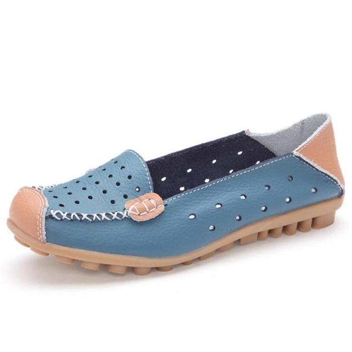 Mocassin Femme Cuir Occasionnelles Leger Chaussure BMMJ-XZ044Bleu35