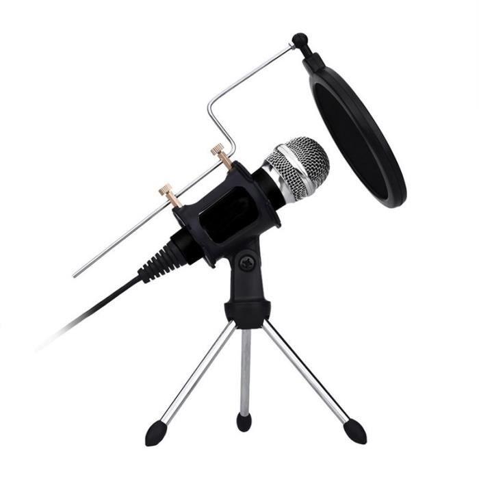 Microphone À Condensateur Pour Enregistrement Sonore Avec Support Trépied, Compatible Les Téléphones Ios & Android / Pc La