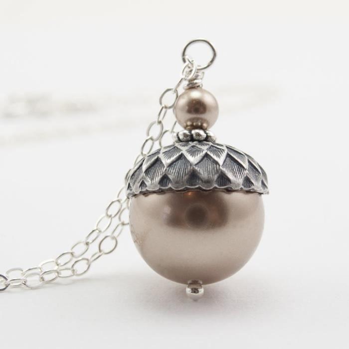 Craze Acorn Collier Bronze cristal Swarovski Simulations Perles, Ster. Chaîne en argent