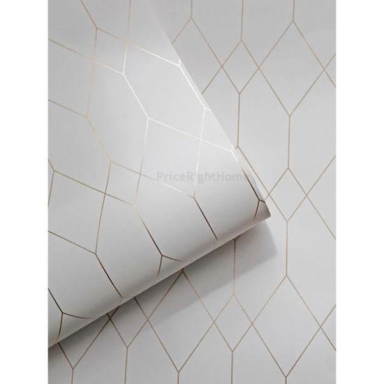 Papier Peint Diamant Geometrique Blanc Cuivre Esprit 32792 1 Achat