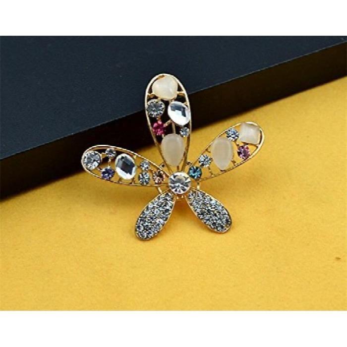 Femmes Lor jaune Dazzled étoile 21k plaqué zircon et Opal clouté Broche en alliage pour un HX0KA
