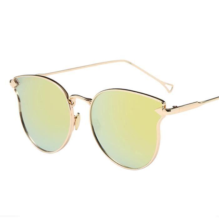 cd-9011 Homme Femme Mode Vintage Métal Bordure chat miroir des lunettes de soleil or