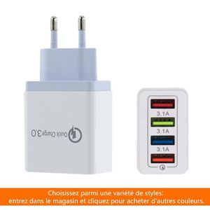 CHARGEUR TÉLÉPHONE Chargeur USB 4USB Quick Charge 3.0 EU,Adaptateur S