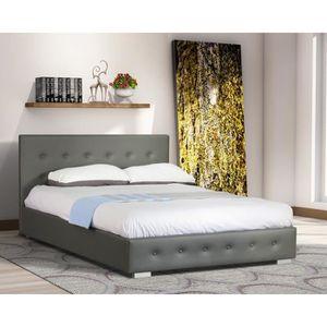 lit adulte design gris capitonn igor 140x200 cm avec sommier meuble en simili cuir id al pour. Black Bedroom Furniture Sets. Home Design Ideas