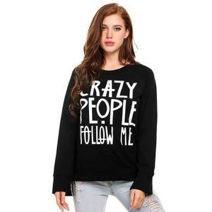 93dc190e477 SWEATSHIRT Pullover Sweatshirt femmes Lettre de O-cou manches
