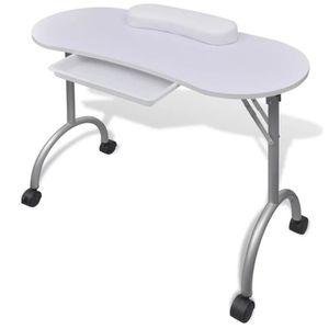 TABLE DE MANUCURE Table de manucure pliante blanche avec roulettes T