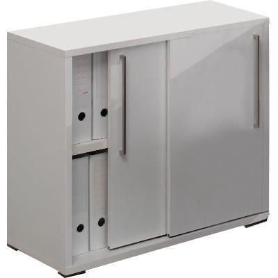 Meuble de bureau 2 portes coulissante coloris blanc Achat