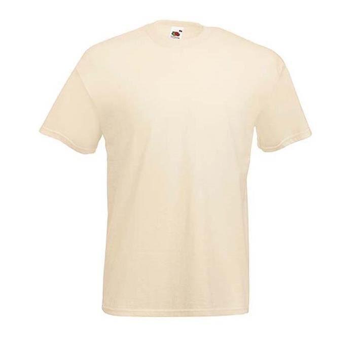 391ec8ac60c T-shirt Ecru Naturel Mixte Homme Femme SC221.100% Coton.Col rond avec bande  de propreté.Coupe tubulaire.Coupe des manches réajustée