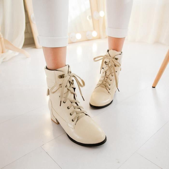 bottes courtes-Pure Color lacer Bottines pour femme