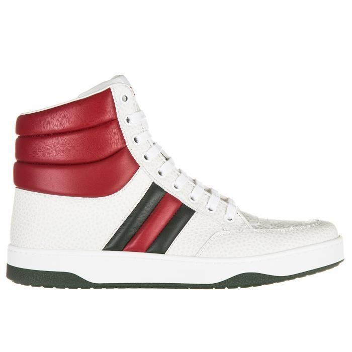 Chaussures baskets sneakers hautes homme en cuir praga karibu Gucci xK9vI0