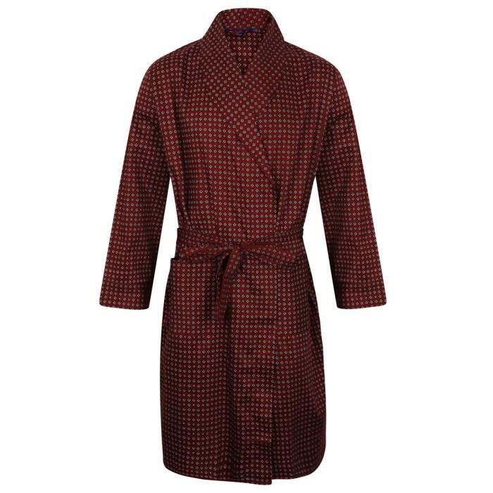 robe de chambre légère 100% coton - bordeaux - homme rouge rouge