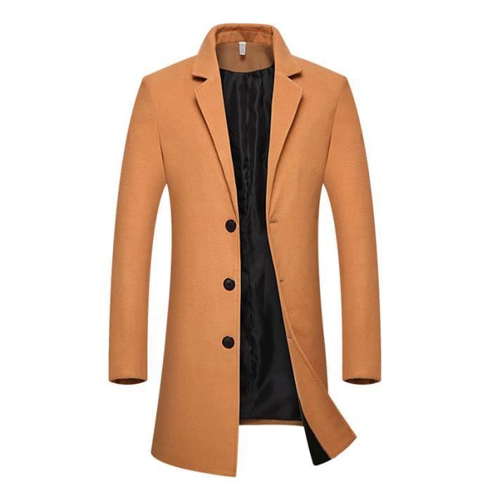 ceb59a0e52d91 Parka longue Homme hiver uni de revers Vêtement Masculin manteau ...