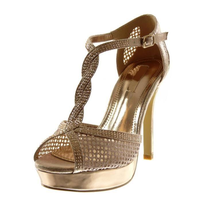 Angkorly - Chaussure Mode Sandale Escarpin stiletto salomés femme résille strass diamant brillant Talon haut aiguille 11.5 CM -