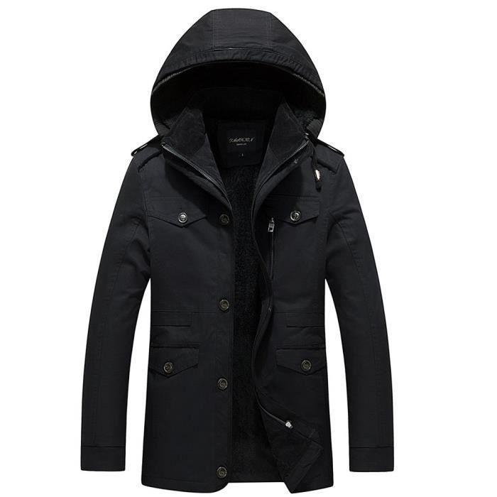 Longueur Coton Hiver Épaississants Automne Hommes Manteau Lavage Noir Cachemire Et Moyenne qg4EwxYT