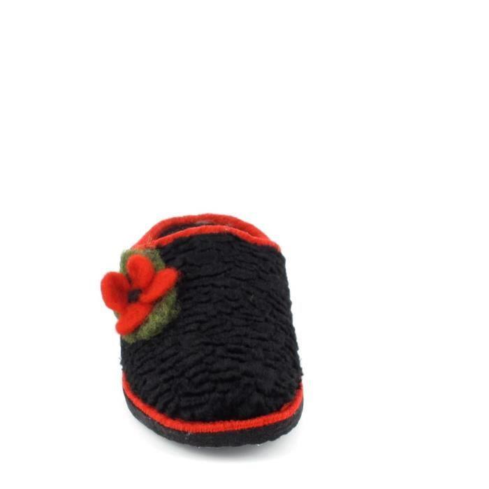 Chaussons d'intérieur FARGEOT Siberie Noir Fleur