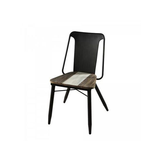 piètement 39508 Lot bois CO chaises massif dossier 2 industriel acacia en avec avec de MarronNoir en assise design et P acier wZOXlkPiTu