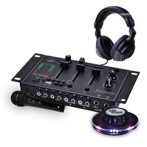 TABLE DE MIXAGE Table de mixage + casque + micro noir + jeu de lum