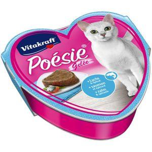 BOITES - PATÉES Vitakraft Cat Food Poetry gelée, le saumon et épin