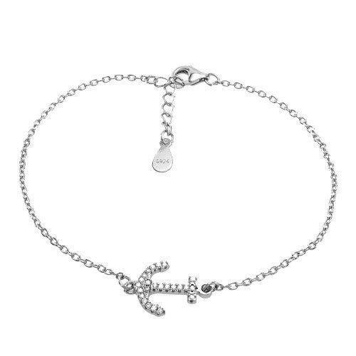 Les femmes en argent sterling Bracelet ancre chaîne Délicat Cz charme nautique Bijoux Plage I7FSI