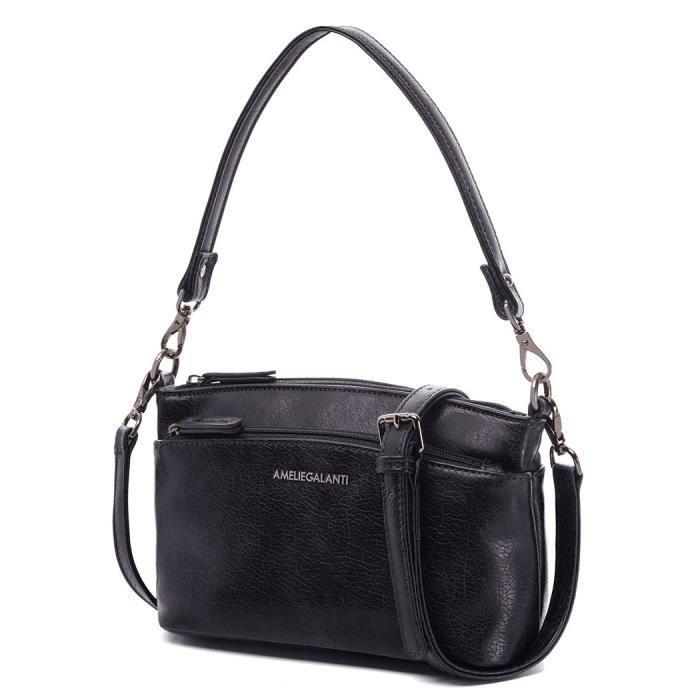 Petit sac à bandoulière pour Pu Sac en cuir Zipper Sacs à main multi-compartiments Q9A19