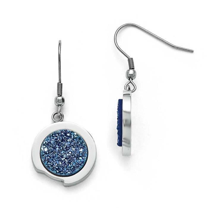 En acier inoxydable poli avec pierre Bleu Druzy Boucles doreilles