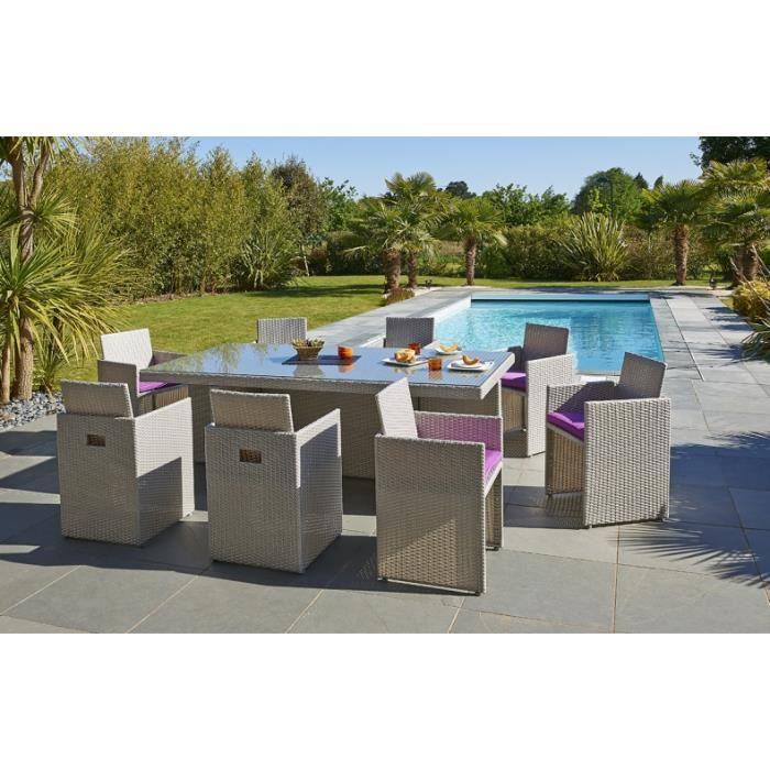 Salon de jardin gris encastrable 8 places + 1 housse de protection ...