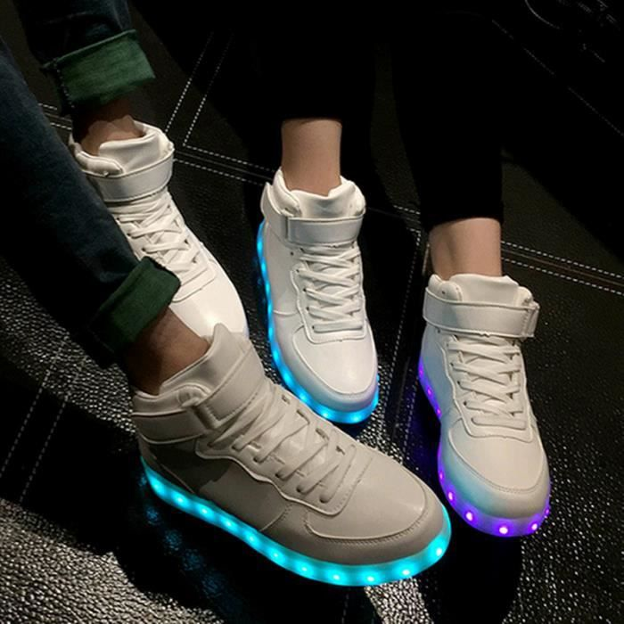 8708a10f7358 7 Couleur Unisexe Homme Femme USB Charge LED Clignotants Chaussures ...