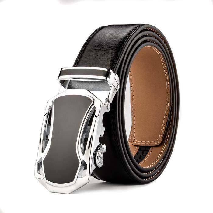 Lisse Ceintures en Cuir Fashion Luxe Homme Boucle de ceinture Automatique  Business Décontracté 569d608d558