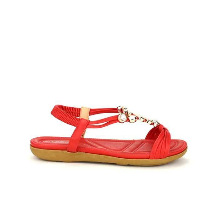 Cendriyon Sandales Rouge Chaussures Femme Rouge - Chaussures Sandale Femme