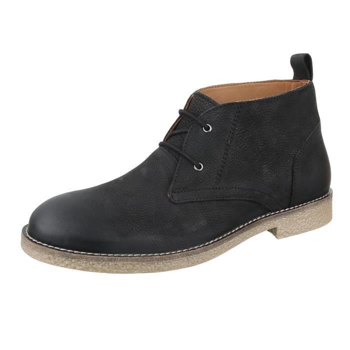 homme botte chaussure cuir lacer ses bottine noir