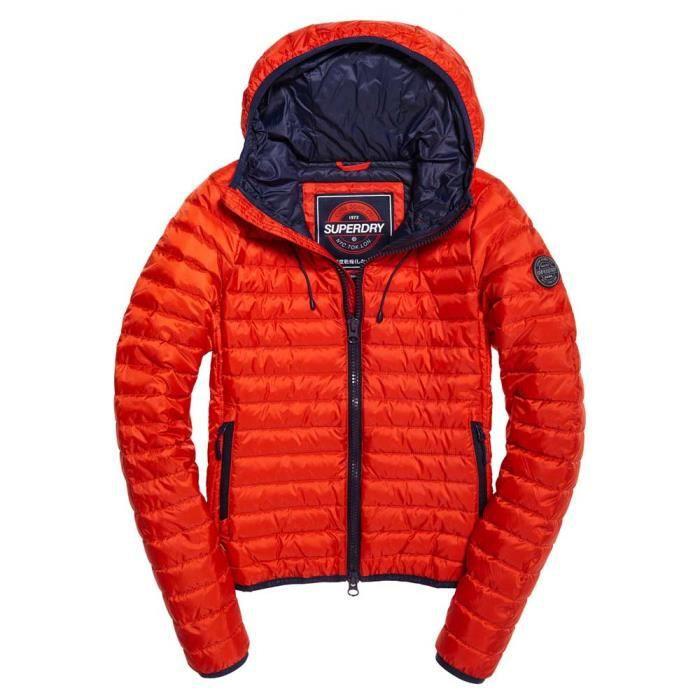 magasin d'usine 2baee bc19c Vêtements femme Manteaux Superdry Core Down Hooded Rouge ...