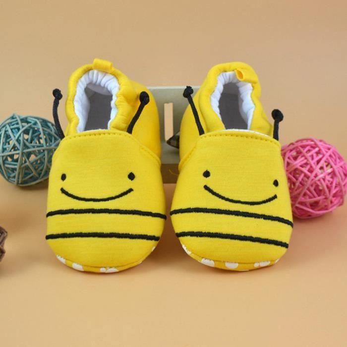 molles chaussures Nouveau marchettes chaussures premiers Flats belle de pantoufles tout né bébé Jaune petits pwAq7npSv
