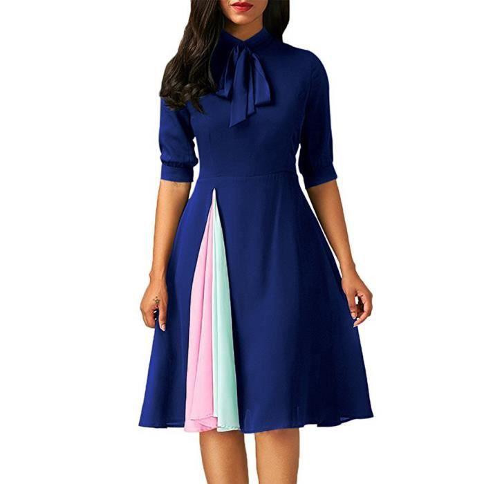 Napoulen®Femmes tenues Casual robe de soirée avec moitié manche BLEU-YHL71102181BU