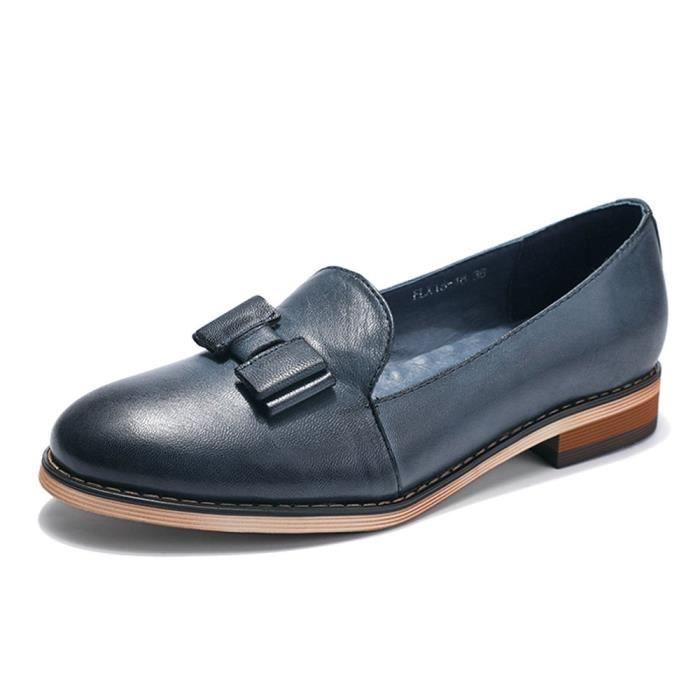 Cuir Slip-on Mocassins pour la main originale Lady Flats Chaussures NS7Y5 Taille-37