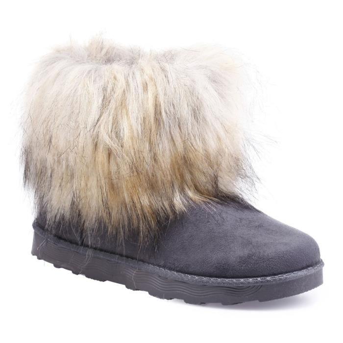 Fausse Boots Avec Poil À Grises Fourrure Long 36 1EEfq