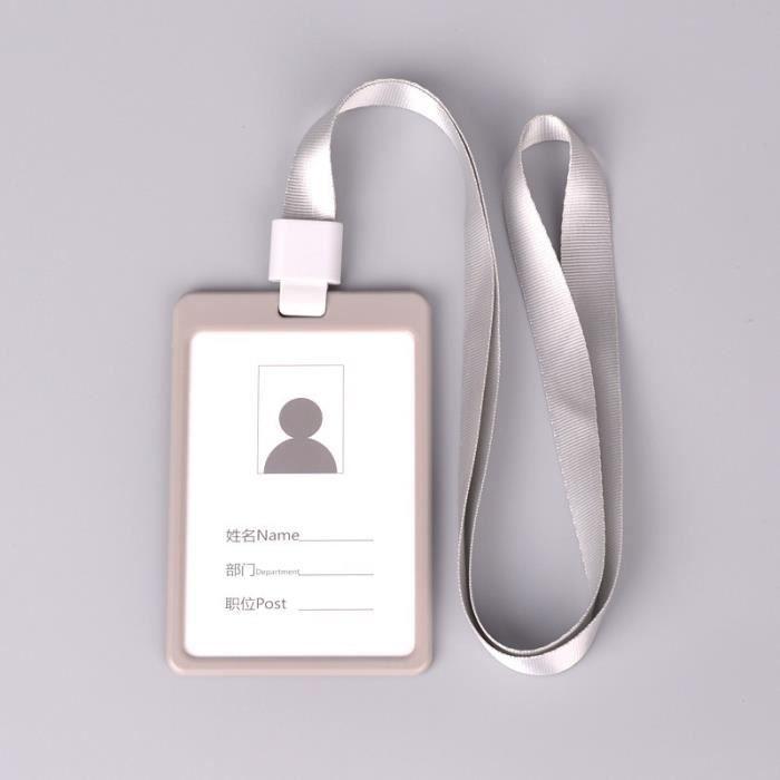 GRIS Tui Porte Badge Carte Visite ID Travail Identit Housse En Plastique Pochette Protecteur Accs Bus Avec Cordon
